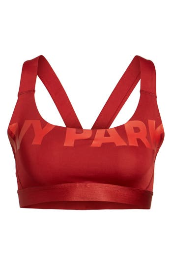 Ivy Park Logo Mesh V-Back Sports Bra, Red
