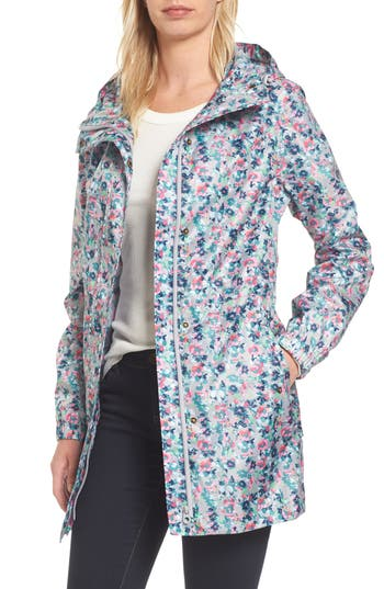 Women's Joules Right As Rain Packable Print Hooded Raincoat, Size 10 - Grey
