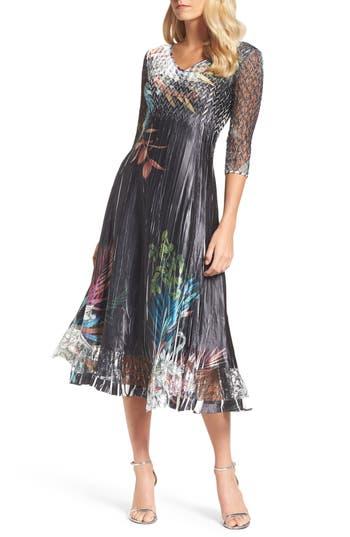 Komarov Print A-Line Dress, Black