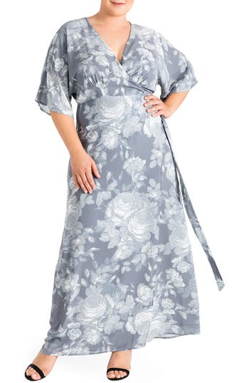 Plus Size Women's Standards & Practices Olivia Print Wrap Maxi Dress, Size 1X - Grey