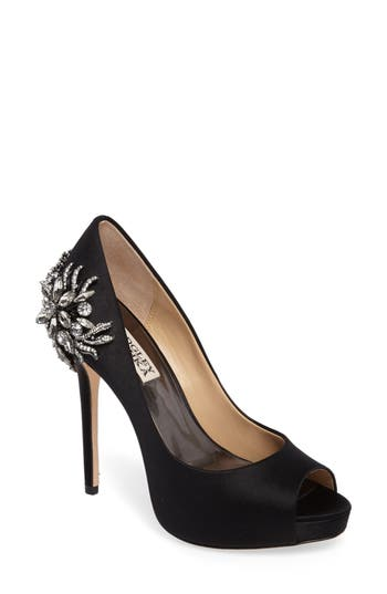 Badgley Mischka Marcia Embellished Peep Toe Pump- Black
