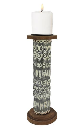 Foreside Manning Pillar Candle Holder, Grey