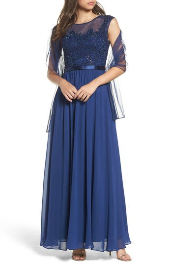 Xcape Embellished Bodice Mesh A-Line Gown, Blue