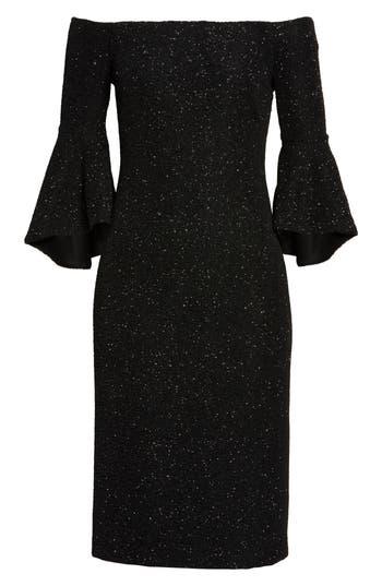 Eliza J Off The Shoulder Bell Sleeve Sheath Dress, Metallic
