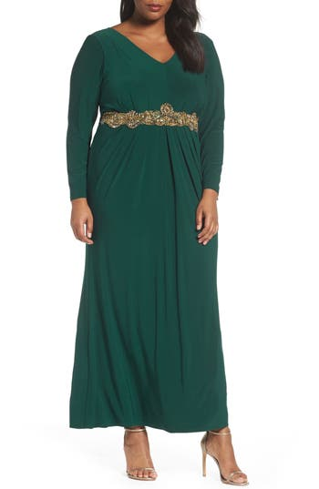 Plus Size Eliza J Beaded A-Line Gown, Green
