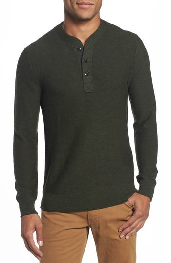 Bonobos Slim Fit Merino Long Sleeve Henley Sweater, Green