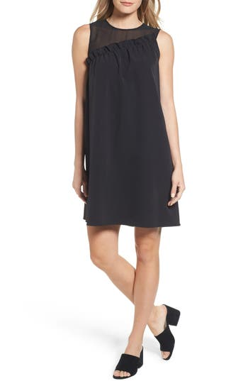 Halogen Mix Media Ruffle Shift Dress, Black