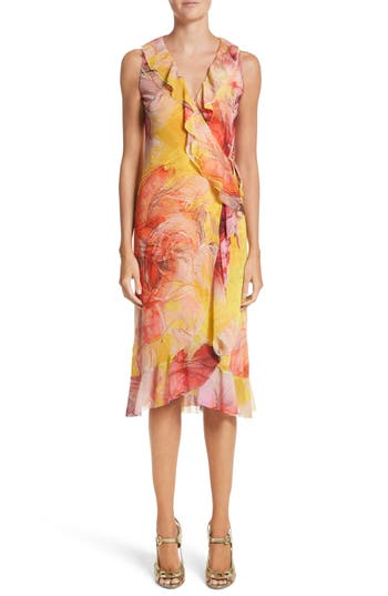 Fuzzi Print Tulle Ruffle Wrap Dress, Yellow
