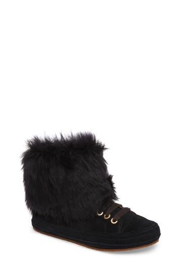 Ugg Antoine Fur Cuff Sneaker, Black