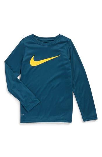 Boys Nike Dry Long Sleeve Swoosh Logo TShirt