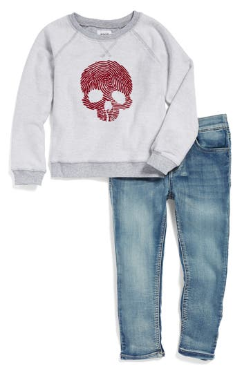 Toddler Boy's Hudson Skull Graphic French Terry Sweatshirt & Jeans Set