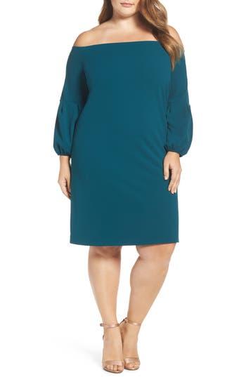 Plus Size Vince Camuto Off The Shoulder Shift Dress, Green