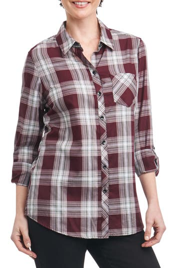Foxcroft Addison Plaid Shirt, Burgundy