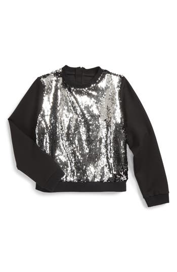 Girls Milly Minis Sequin Sweatshirt Size 8  Black