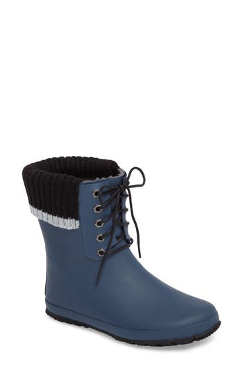 Dav Lace-Up Weatherproof Rain Boot, Blue