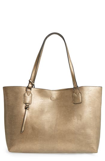 Street Level Snake Embossed Faux Leather Tote - Grey