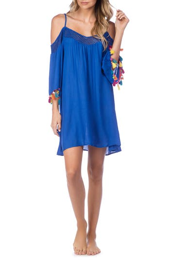 Nanette Lepore Cha Cha Cha Off The Shoulder Cover-Up, Blue