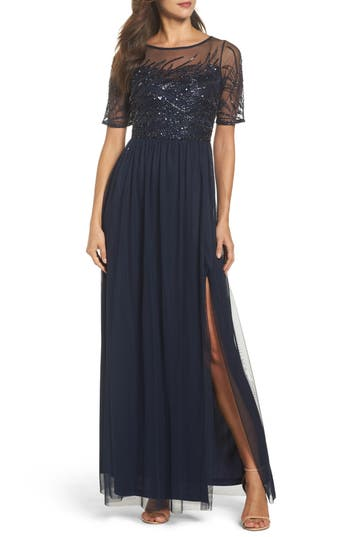 Adrianna Papell Beaded Bodice Mesh Gown, Blue