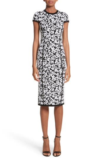 Michael Kors Floral Jacquard Sheath Dress, Black