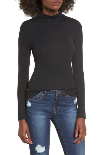 Leith Sheer Mock Neck Tee, Black