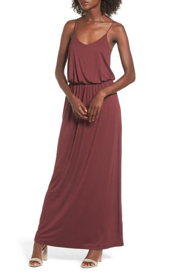 Knit Maxi Dress, Burgundy