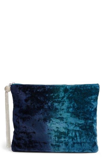 Steve Madden Velvet Pouch Clutch - Blue
