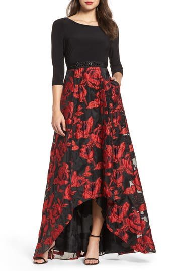 Adrianna Papell Rose Organza High/low Maxi Dress, Black