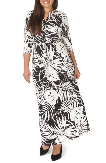 Plus Size Evans Palm Print Maxi Dress, US / 18 UK - Black