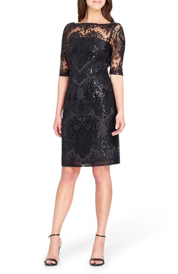 Tahari Sequin Illusion Sheath Dress, Black