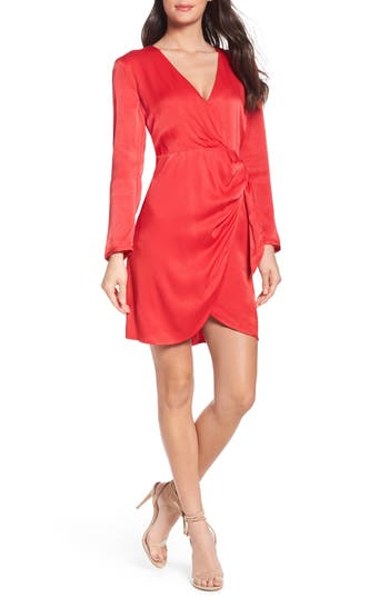Women's Bardot Satin Wrap Dress, Size X-Small - Red