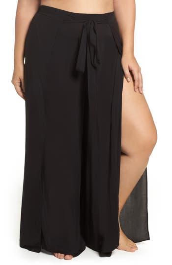 Plus Size Elan Cover-Up Flyaway Pants, Size - Black