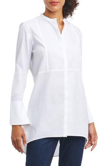 Foxcroft Cally Non-Iron Stretch Cotton Tunic Shirt, White