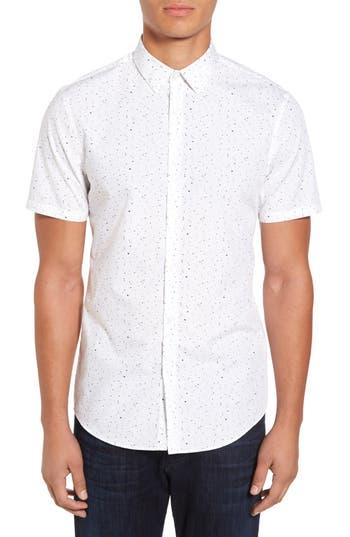 Calibrate Speckle Print Sport Shirt, White