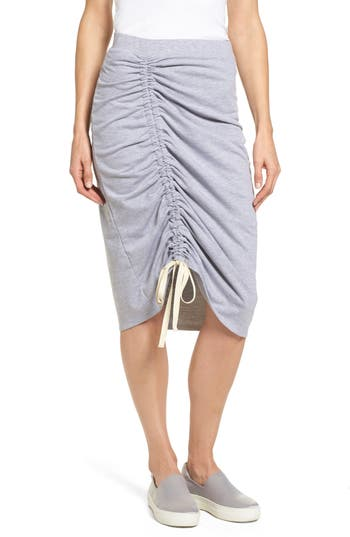 Caslon Drawstring Cinched Pencil Skirt, Grey