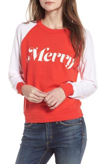 Women's Wildfox Merry Sweatshirt, Size XX-Small - Red