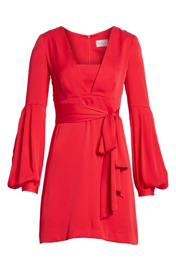 Milly Kayla Deep V-Neck Stretch Silk Dress, Red