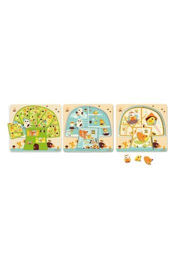 Toddler Djeco 3-Layer Wooden Chez-Nuit Puzzle