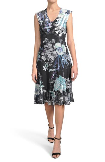 Komarov Print Chiffon Dress, Black