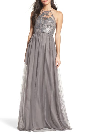 Amsale Sheridan Sequin Halter Dress, Grey