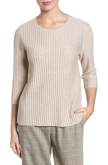 Eileen Fisher Ribbed Merino Wool Sweater, Beige