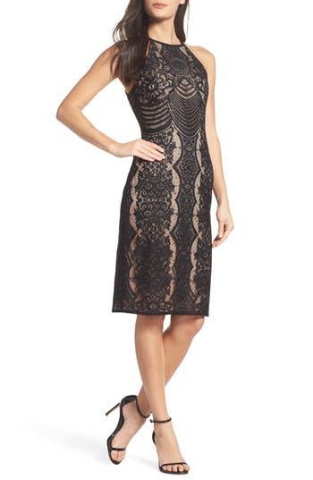 Morgan & Co. Lace Halter Sheath Dress, /6 - Black