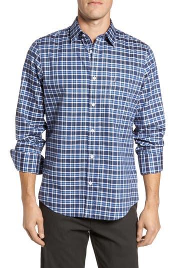 Big & Tall Nordstrom Shop Smartcare(TM) Regular Fit Plaid Sport Shirt, Blue