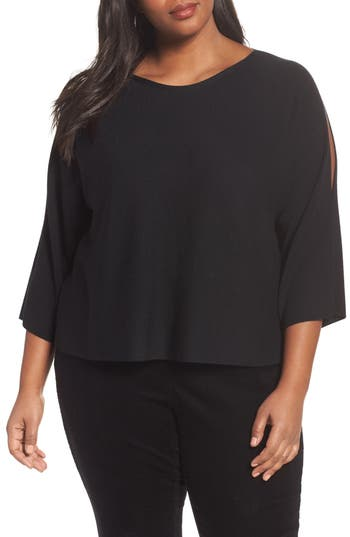 Plus Size Eileen Fisher Crop Merino Wool Sweater, Black