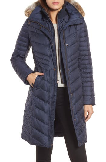 Andrew Marc Chevron Quilted Coat With Genuine Coyote Fur Trim, Blue