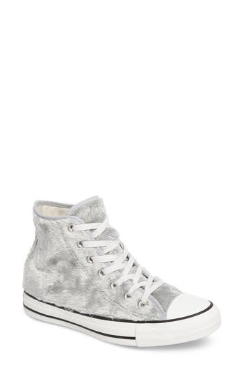 Converse Chuck Taylor All Star Faux Fur High Top Sneakers- Grey