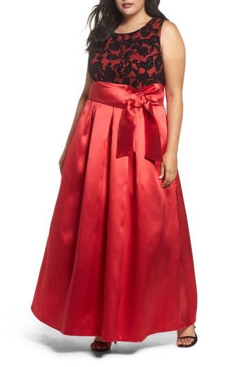 Plus Size Eliza J Sleeveless Lace & Satin Ballgown, Red