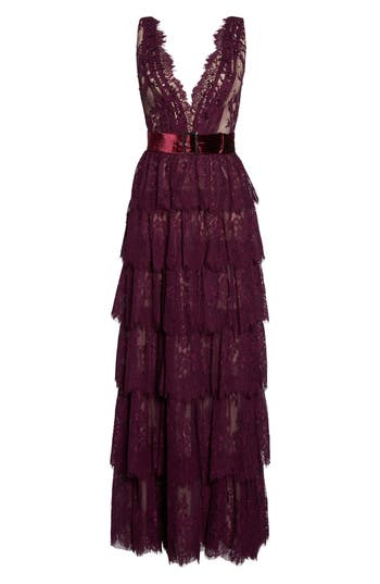 MAC Duggal Tiered Lace Column Gown, Purple