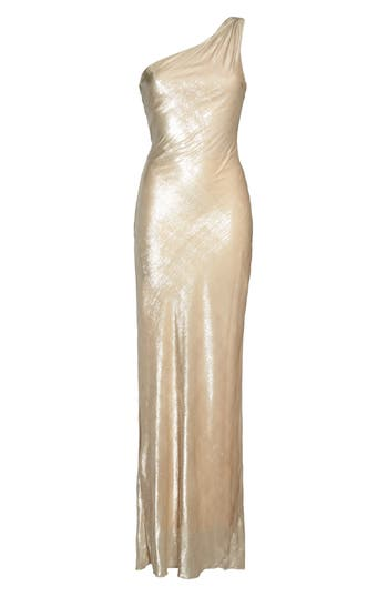 Maria Bianca Nero Stelle Metallic Velvet One-Shoulder Gown, Grey