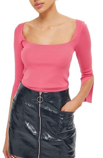 Women's Topshop Split Sleeve Crop Sweater, Size 2 US (fits like 0) - Pink