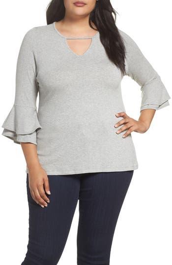 Plus Size Women's Bobeau Double Ruffle Sleeve Top, Size 2X - Grey